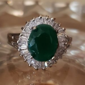 Green and White Cubic Zirconia Ring